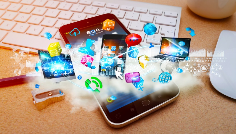 Tech devices and cloud over modern mobile phone